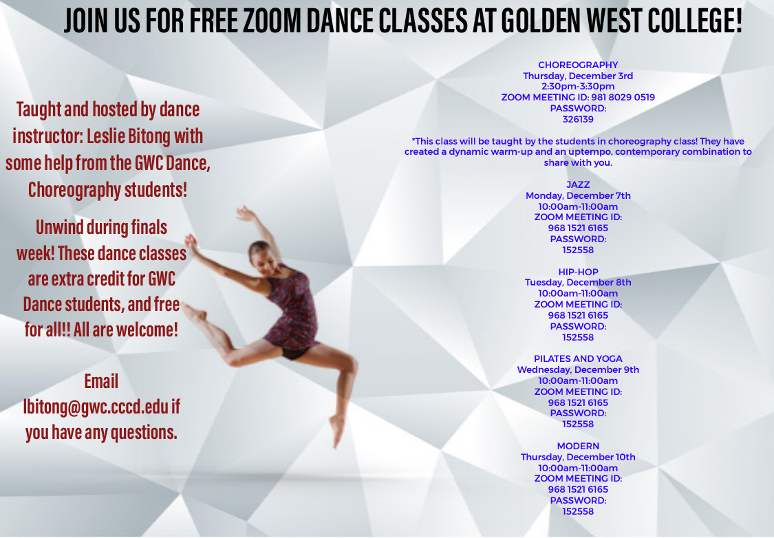 Free Dance Classes During Finals!